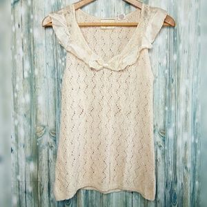 Guinevere Anthropologie crochet tank with bow
